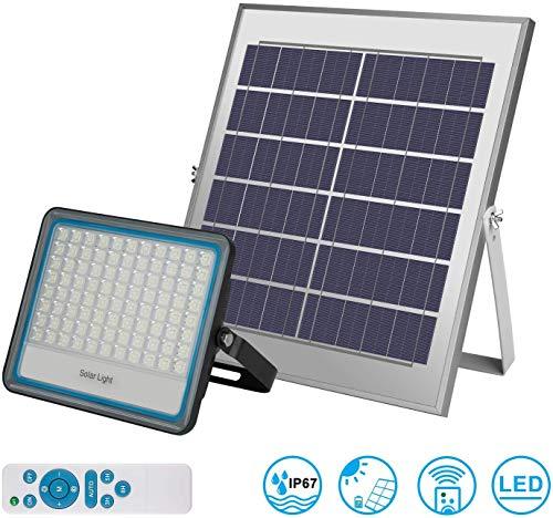 100w Solar Flutlicht Aussen Fernbedienung Solarlampen 176 LEDs 6000K Solar Strahler,Abenddämmerung bis zum Morgengrauen Sicherheitsleuchten,IP67
