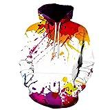 Manadlian Herren Hoodie Herbst Winter Mehrfarbig Tinte Bunt 3D-Druck Lange Ärmel mit Kapuze Sweatershirt Pullover Bluse Coole Kapuzenpullover Sweatshirt