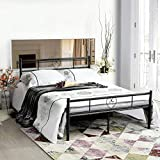 Aingoo Metal Double Bed 4ft 6 Bed Frame Solid Bedstead Base Heart-Shaped Large Storage Space Children Adults, Black