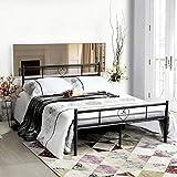 Aingoo 140 x 200 CM Ehebett Metall Bettgestell mit Lattenrost für Gästezimmer Schlafzimmer Bett In Schwarz Herz Symbol Muster
