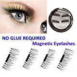 Fantany 3D Magnetic False Eyelashes, NO GULE REQUIRED Reusable Hand Made Thin Natural Look Fake Eyelashes Extension, 0.2mm Magnet Easy to Apply Eye Lashes 1 Pair with Nice Case