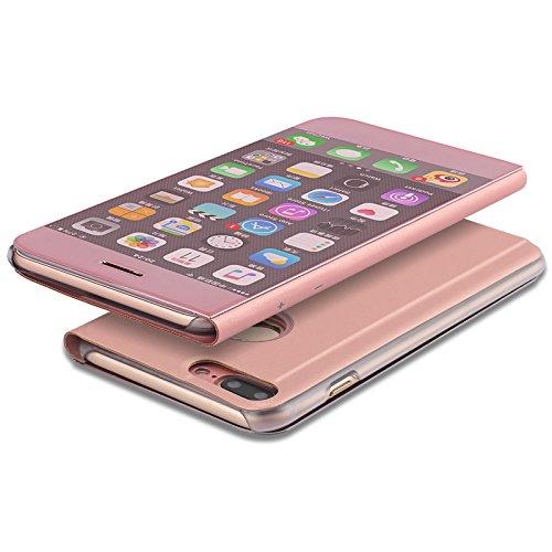 Meimeiwu Clear View Flip Custodia Cover con Funzione Kickstand [Sleep/Wake Funzione] Ultra-Sottile Specchio Traslucido Smart Cover per iPhone 7 - Argento Rose Oro