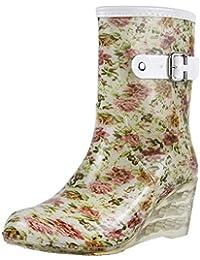 fa24101f34e Wealsex Mujer Cuñas Cuatro Estaciones Moda Botas De Lluvia Transparente  Zapatos De Agua Cremallera Lateral con