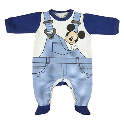 Jungen BABY-STRAMPLER mit Füßchen GEFÜTTERT von Mickey Mouse in GRÖSSE 56, 62, 68, 74, 80 blau im Latz-Hose Design, Baby-Schlafanzug LANG-ARM mit Druck-Knöpfen, Spiel-Anzug Size 56