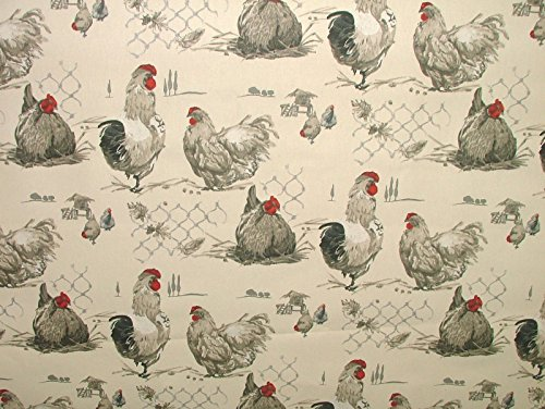 05-metre-french-gaulois-hens-chicken-ecru-noir-curtain-upholstery-designer-cotton-fabric