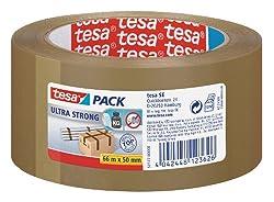 tesa Ultra Strong Packband (aus PVC mit besonders starker Klebekraft, 66 m x 50 mm) braun