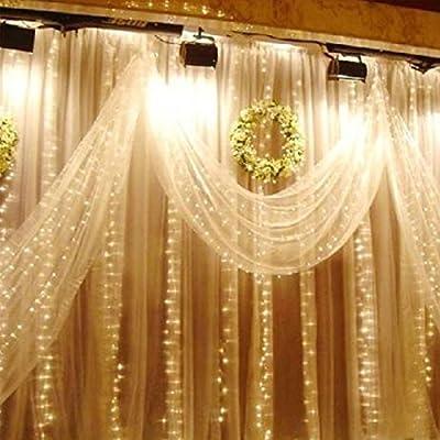 LemonBest 3M x 3M 300LED Wasserdicht Lichtervorhang Led Lichterkette Mit 8 Modi Weihnachtsbeleuchtung für Weinachten, Hochzeit, Restaurants, Festivals (warmes Weiß)