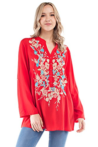 Floral Woven Blouse (Solitaire Floral Embroidered Tunic (small, Red/Multi))
