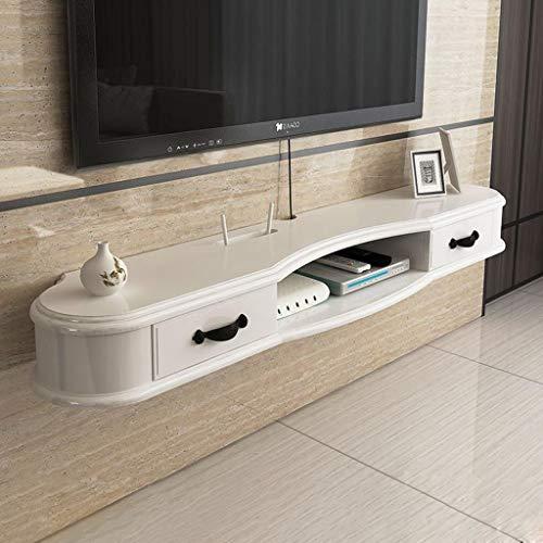 Wand-TV-Schrank mit Schublade Schlafzimmer Wohnzimmer Wandregal schwimmende Regal Multifunktionale Aufbewahrungsbox Multimedia-Regal (Farbe : Weiß, größe : 1.3M) - Tv-wand-schrank