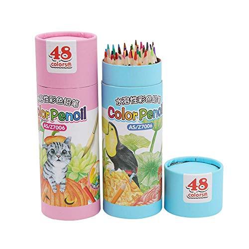 Crayons de couleur, crayons de couleur solubles dans l'eau, 36/48 couleurs Seau de plomb, pinceau pour enfants, stylo à dessin de couleur, cœur souple, triangle 48 color