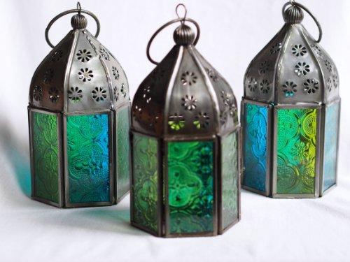 Porta velas de estilo marroquí con cristal coloreado (juego de 3), color azul y verde