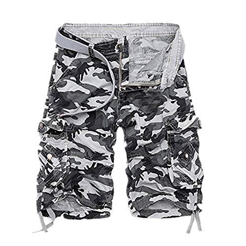 Shorts Herren Reißverschlusstaschen Pure Farbe Draußen Strand Beiläufig Arbeit Cargo Hose Bootcut Cargo