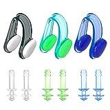 HeySplash Ohrstöpsel zum schwimmen und Nasenklammer, Schwimmen Gear inkl. [3- Paket] verhindert Wasser im Ohr +Soft-Silikon-Nasenschutz ?für Erwachsene und Kinder
