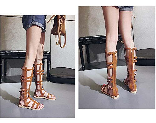 Nuovi sandali per le donne Round Toe Roman Open-Toe Hollow Flip Flop Brown