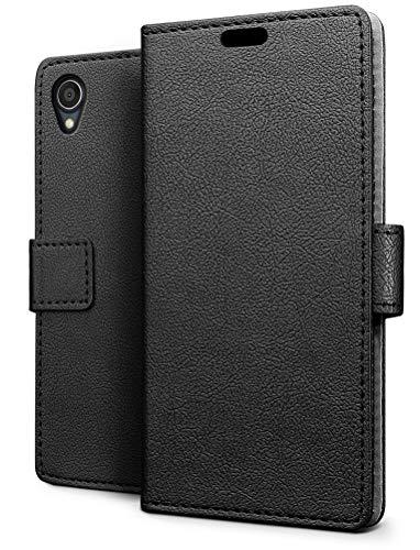 SLEO ASUS ZenFone Live L1 ZA550KL Hülle, PU Leder Case Tasche Schutzhülle Flip Case Wallet im Bookstyle für ASUS ZenFone Live L1 ZA550KL Cover - Schwarz