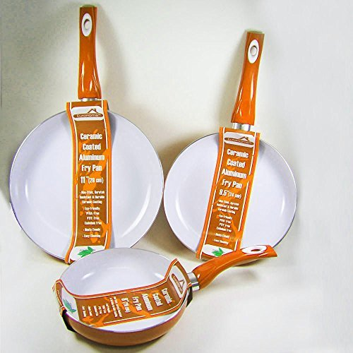 "3 Non Stick Ceramic Coated Fry Pan Set Eco Orange Healthy Cookware 8"" 9.5"" 11"""