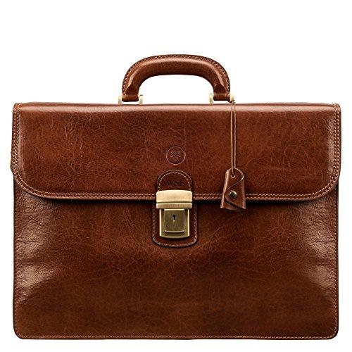 Maxwell-Scott® PERSONALISIERT! Luxus Herren Aktentasche aus Leder in Cognac Braun (Paolo3)