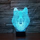 3D Optical Lamp Jawell Wolf Illusion Effect Night Light 7 Colors Switch by Smart Touch Button Creative Home Office Decorations Children Gift