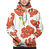 Men's Hoodies Sweatershirt,Doodle Style Poppy Anemone Field in Full Blossom May Flowers,3D Printing Long Sleeve Casual Sweatershirt Tops,Size Medium
