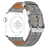 DaGeLon Stilvoll Armband für Apple Watch 40mm Series 4 38mm Series 3 Series 2 Series 1, Retro Leder Uhrenarmband Strap Robust Ersatzband Lederarmband für iWatch Sport Edition Nike+ Hermes, Grau