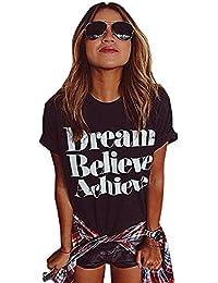 Rcool Mujeres del Verano de la Blusa de Ocasional Manga Corta de Algodón Impresión de la Letra Camiseta Tops T shirt 1