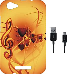 BKDT Marketing Printed Soft Back Cover Combo for Lava A88 With Charging Cable