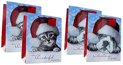 Lot de 4grands sacs de cadeau de Noël avec poignées