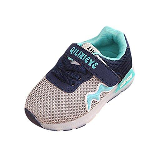 LED Leuchten Schuhe Kleinkind Kinder, DoraMe Baby Jungen Mädchen Mesh Atmungsaktive Sportschuhe Unisex Patchwork Turnschuhe Anti-rutsch Sneaker für 1-6 Jahr (2-2.5 Jahr/Size(CN):23, Grau)