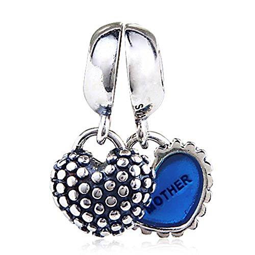 Ciondolo pendente soulbead pezzo di cuore madre, figlia e figlio in argento sterling 925 per bracciale donne europee, argento, colore: silver, cod. xc