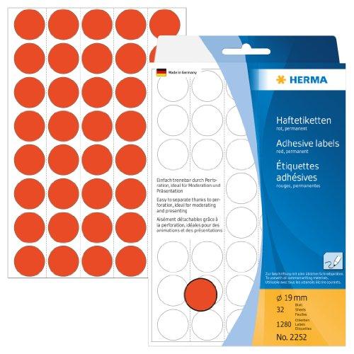 Matt Roter Oberfläche (Herma 2252 Vielzwecketiketten farbig, rund (Ø 19 mm, Papier matt) 1.280 Markierungspunkte, 32 Blatt, rot, selbstklebend, Handbeschriftung)