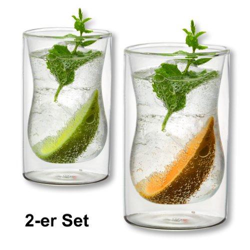 1aTTack.de 833413 Trink/Thermo-Glas 250 ml doppelwandig Modell Stella für Heiß- und Kaltgetränke, 2-Stück
