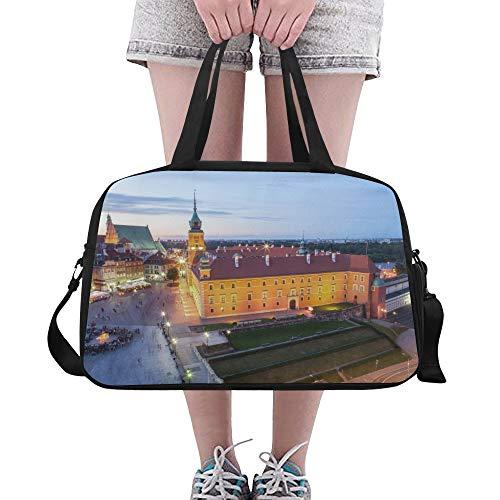 Zemivs Schöne Stadt Nachtszene Große Yoga Gym Totes Fitness Handtaschen Reise Seesäcke Schultergurt Schuhbeutel für die Übung Sport Gepäck für Mädchen Männer Womens Outdoor