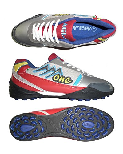 AGLA PROFESSIONAL ONE EXE OUTDOOR scarpe calcetto futsal calcio a 5 anti-shock system (41 EU, Grey/Red)