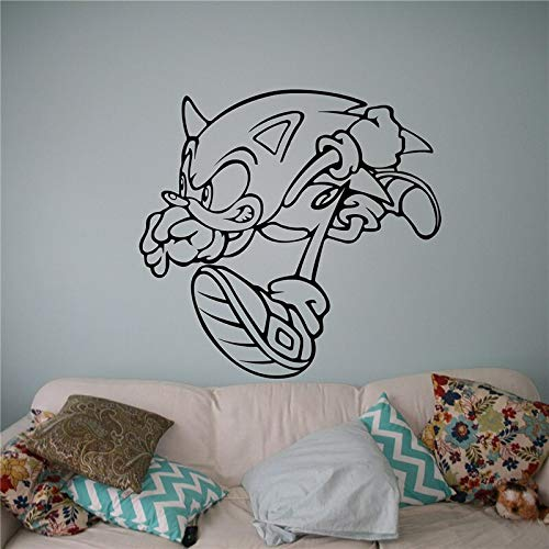 Baobaoshop Sonic Vinyl Aufkleber Wand Vinyl Aufkleber Videospiel Cartoons Wohnkultur Kinder Kinderzimmer Dekor 58x56cm