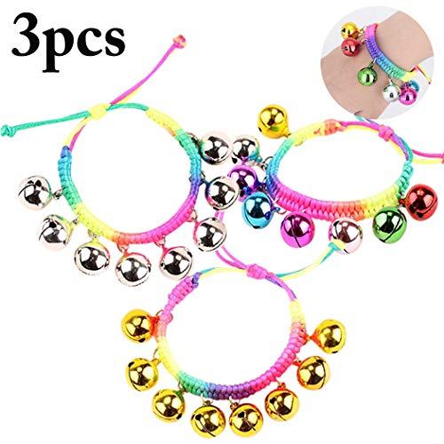 Joyibay 3PCS Weihnachten Armband Einstellbare Bell Knöchel Armband String Armband für Kinder (Knöchel Armbänder String)