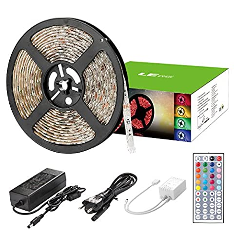 LE 5M Ruban LED Etanche Multicolore, Bande lumineuse RVB 300LEDs 5050SMD Flexible, 20 Couleurs et 6 Modes, Télécommande à infrarouge 44 touches et Alimentation 3A 12V
