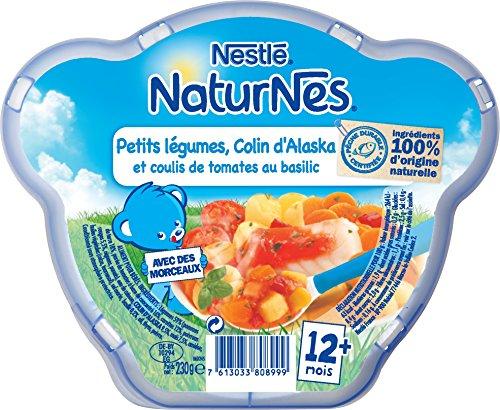 Bébé Nestlé Naturnes Petits Légumes Colin d'Alaska et Coulis de Tomates - Assiette de 230 g dès 12 Mois - Lot de 3 -