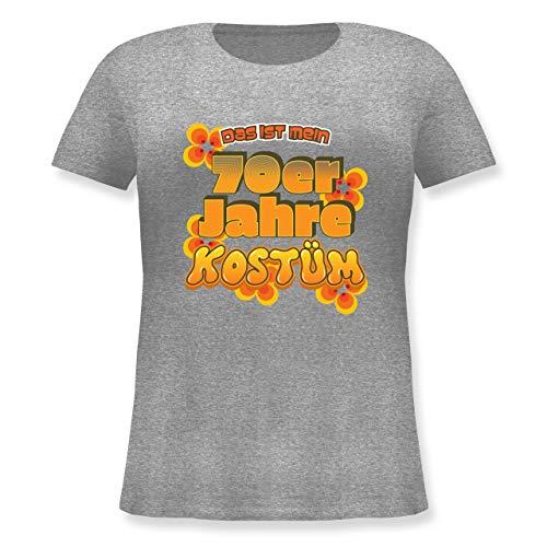 Karneval & Fasching - Das ist Mein 70er Jahre Kostüm - L (48) - Grau meliert - JHK601 - Lockeres Damen-Shirt in großen Größen mit Rundhalsausschnitt (70er Jahre Motto Kostüme Ideen)