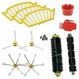 ASP ROBOT Recambios Roomba serie 500 505 510 521 530 531 532 534 535 545 550 555 560 562 564 565 570 571 580 581 585.Filtro, cepillo lateral, rodillo central y accesorios. Pack repuestos. KIT nuevo