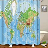 Feidaeu Duschvorhänge Extra Long 3D Print Map Funny Waterproof Polyester Curtains für Badezimmer-Screen