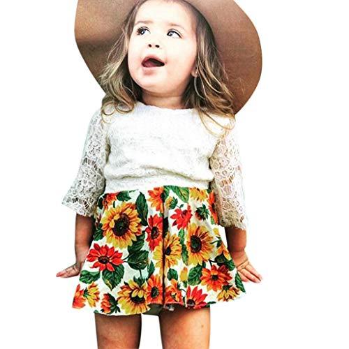 YWLINK MäDchen Kleinkind-KleinkindmäDchen Elegant Spitzen-Hohl Sonnenblumen Einfach Tops Süß Strand Set(Weiß,3-4 ()