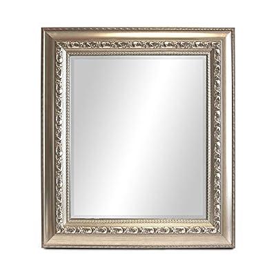 Wandspiegel Barspiegel Frisierspiegel Badspiegel Badezimmerspiegel Spiegel mit Facettenschliff + Verzierungen 80x70cm - Silbergold