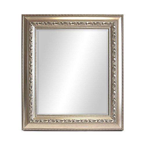 Multistore 2002 Wandspiegel Barspiegel Frisierspiegel Badspiegel Badezimmerspiegel Spiegel mit Facettenschliff + Verzierungen 80x70cm - Silbergold