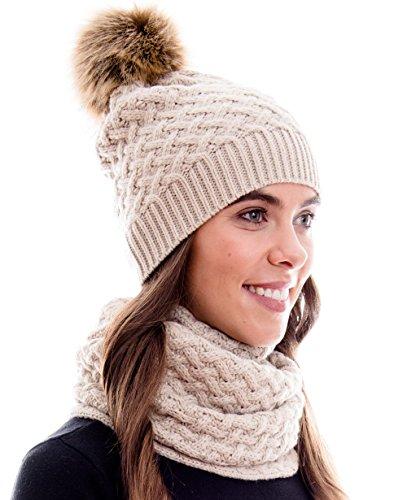 Winter Kombi Set, bestehend aus Damen Schal und passender Strick Mütze. Bommelmütze mit Pompon in aktuellen Farbkombinationen, Winter Set:3A-creme
