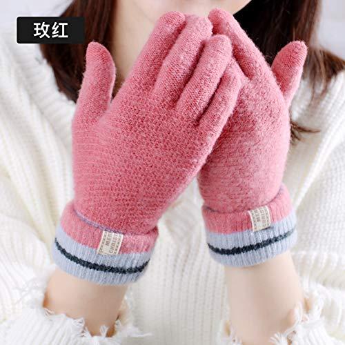 LybGloves Winter-warme Nette Studentendicke der Handschuhe, die das Verdicken reitet, Finger mit fünf Fingern zeigt Finger-Touch Screen Wolle, eine Größe, rosafarbenes Rot