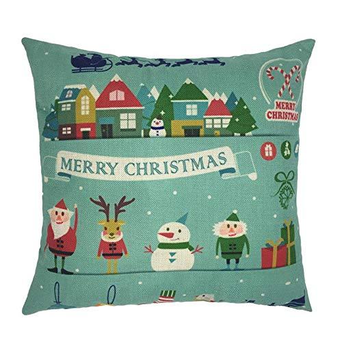 SDJBZ Kissenbezug 45 * 45 Happy Christmas Kissenbezüge Leinen Sofa Cartoon Kissenbezug Home Deco