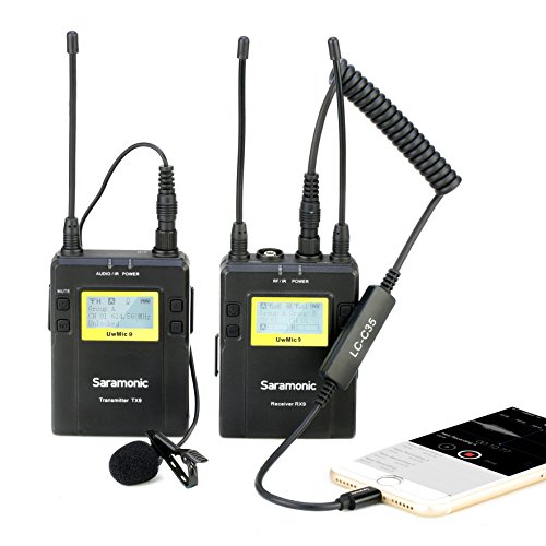 Kabelloses Lavalier Mikrofon, Saramonic UwMic9 Lapel Clip-On UHF Mikrofonsystem mit LC-C35 TRS-Blitzausgangskabel für iPhone 6 7 8 X, iPad, DSLR Kamera für Youtube Vlogging Livestream Filmemachen (Mikrofon Film Kit)