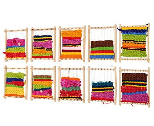 Betzold 81923 - Schul-Webrahmen Buchen-Holz, Set mit 10 Stück, Stabiler Holzschlitten, 16,5 x 22 cm, inkl. Anschlagkamm - Weben Lernen Kinder