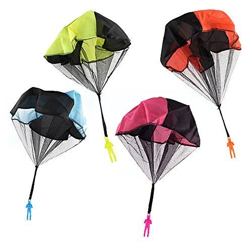 Fallschirmspringer Werfen Kinder Spielzeug, 4 Stück Hand Fallschirm Draußen Parachute Toy Verwicklung Frei Soldaten Spielfiguren(Blau + Orange + Rosa + Gelb) (Werfen Mini 4 Stück)