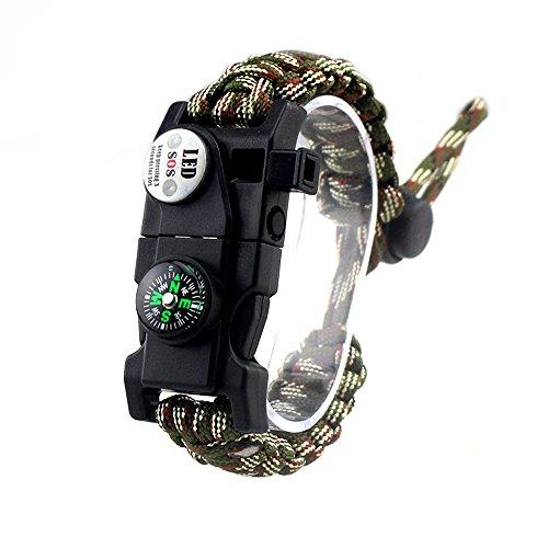 Einstellbare Überleben Armband, 7 Core Paracord 20 in 1 Notfall-Sport Zahnrad Satz Outdoor Survival Kit mit LED SOS Licht, Kompass, Rettungspfeife, Fire Starter Multi-Tool für Wildnis Abenteuer -